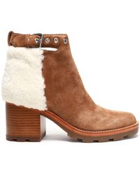 Sigerson Morrison - Santiago Shearling-paneled Suede Ankle Boots Light Brown - Lyst