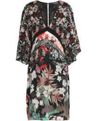Roberto Cavalli - Floral-print Silk-chiffon Mini Dress - Lyst