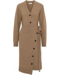 Goen.J - Woman Wrap-effect Button-detailed Wool Cardigan Sand - Lyst