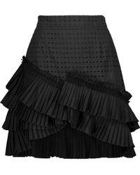 Just Cavalli - Asymmetric Pleated Poplin And Broderie Anglaise Cotton Mini Skirt - Lyst