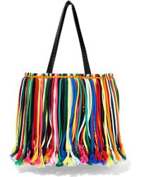 Emilio Pucci - Woman Fringed Leather-trimmed Macramé Tote Multicolour - Lyst