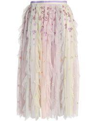 Needle & Thread - Ruffled Embellished Tulle Midi Skirt - Lyst