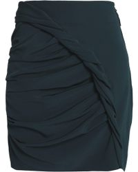 Carmen March - Woman Gathered Crepe Mini Skirt Petrol - Lyst