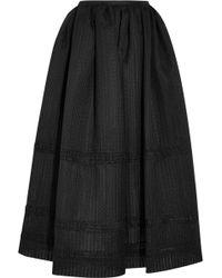 Emilia Wickstead - Maribel Embroidered Cotton-blend Organza Midi Skirt - Lyst