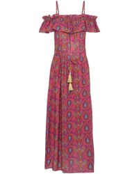 Figue - Cold-shoulder Printed Cotton-blend Maxi Dress - Lyst