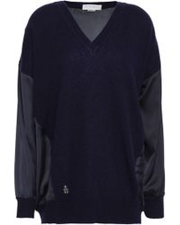 Amanda Wakeley - Satin-paneled Cashmere And Wool-bend Jumper - Lyst