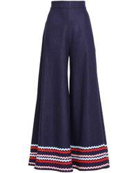 Paper London - Woman Rick Rack-trimmed Ramie Wide-leg Trousers Navy Size 8 - Lyst