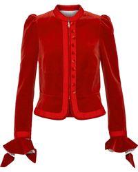 Sonia Rykiel - Ruffle-trimmed Cotton-velvet Blazer - Lyst