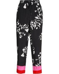 Joie - Woman Ceylon Floral-print Silk Straight-leg Trousers Black - Lyst