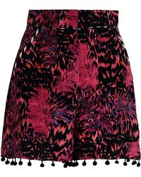 Matthew Williamson - Pompom-trimmed Printed Silk Shorts - Lyst