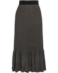 Sonia Rykiel - Metallic Striped Cotton-blend Midi Skirt - Lyst