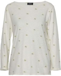 A.P.C. - Printed Cotton And Linen-jersey Top - Lyst