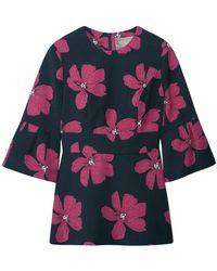 Lela Rose - Cotton-blend Floral-jacquard Peplum Top - Lyst
