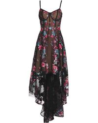 Marchesa notte - Asymmetric Embroidered Tulle Gown - Lyst