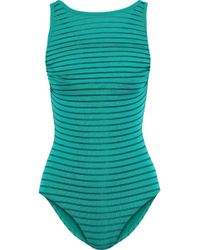 Jets by Jessika Allen - Woman Parellels Overlay Striped Mesh Swimsuit Teal - Lyst