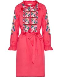 Figue - Embellished Cotton-poplin Dress - Lyst