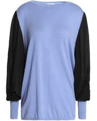 Amanda Wakeley - Ray Crepe De Chine-paneled Silk, Wool And Cashmere-blend Sweater Light Blue - Lyst