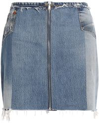 Levi's - Patchwork Distressed Denim Mini Skirt Mid Denim - Lyst