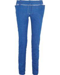 Ronald Van Der Kemp - Distressed Mid-rise Skinny Jeans Mid Denim - Lyst