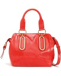 See By Chloé - Paige Cracked-leather Shoulder Bag Tomato Red - Lyst
