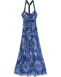 Matthew Williamson - Open-back Embellished Printed Silk-chiffon Maxi Dress - Lyst