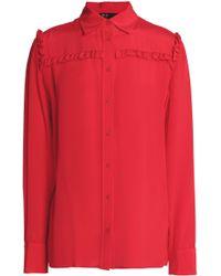Maje - Ruffle-trimmed Silk Crepe De Chine Shirt - Lyst