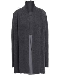 Elie Tahari - Woman Panelled Silk-satin Crepe And Merino Wool Cardigan Charcoal - Lyst