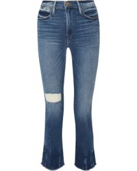 FRAME   Le High Distressed Straight-leg Jeans   Lyst