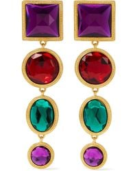 Ben-Amun - Gold-tone Crystal Clip Earrings - Lyst