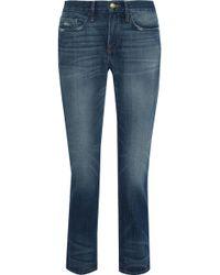 ab842b217b297 FRAME - Woman Le Boy Distressed Mid-rise Slim-leg Jeans Mid Denim -