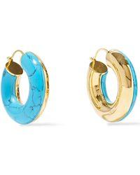 Noir Jewelry - 14-karat Gold-plated Stone Hoop Earrings Turquoise - Lyst