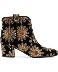 LAURENCE DACADE Belen Sequin-embellished Embroidered Velvet Ankle Boots