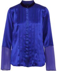 Elie Tahari - Izarra Chiffon-paneled Pintucked Silk-satin Blouse - Lyst