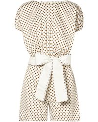 Silvia Tcherassi - Belted Polka-dot Stretch-cotton Playsuit White - Lyst