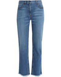 Theory - Frayed Bootcut Jeans Mid Denim - Lyst