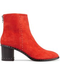 Rag & Bone - Willow Stud-embellished Suede Ankle Boots - Lyst