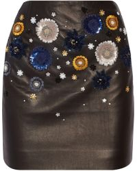 Topshop Unique - Linard Embellished Leather Mini Skirt - Lyst