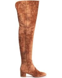 a4c3200b2bf Gianvito Rossi - Woman Rolling Mid Suede Thigh Boots Light Brown - Lyst