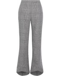 Antonio Berardi - Cropped Prince Of Wales Checked Wool-blend Flared Trousers - Lyst