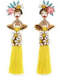 Elizabeth Cole - 24-karat Gold-plated, Swarovski Crystal, Stone, Acrylic And Tassel Earrings - Lyst