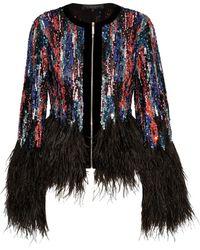 Elie Saab - Feather-trimmed Embellished Tulle Jacket - Lyst