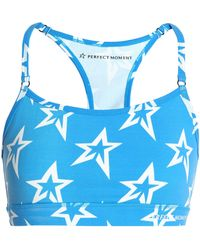 Perfect Moment - Woman Printed Stretch-jersey Sports Bra Azure - Lyst