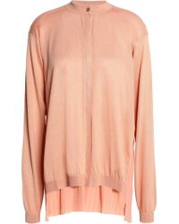 Vionnet - Pleated Silk And Cotton-blend Crepe Cardigan - Lyst