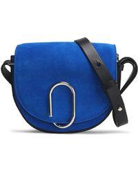3.1 Phillip Lim - Leather-trimmed Embellished Suede Shoulder Bag Bright Blue - Lyst