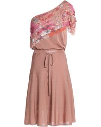 Roberto Cavalli - One-shoulder Printed Crochet-paneled Stretch-knit Dress - Lyst