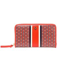 Tory Burch - Printed Coated Canvas Wallet - Lyst
