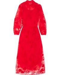 Simone Rocha - Embroidered Tulle Midi Dress - Lyst
