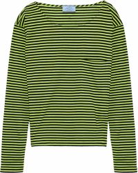 Prada - Neon Striped Cotton-jersey Top - Lyst