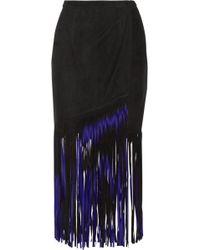 Tamara Mellon   Wrap-effect Fringed Suede Midi Skirt   Lyst