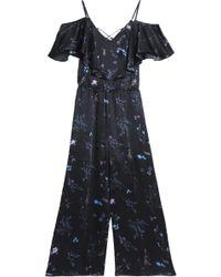 Rachel Zoe - Cold-shoulder Ruffled Floral-print Silk-satin Jumpsuit - Lyst